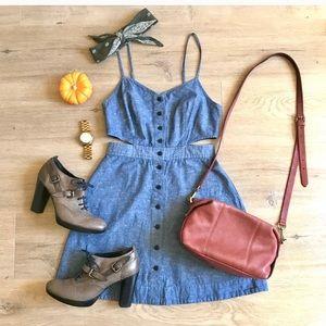 Madewell Chambray Cutout Cami Mini Dress, Size 2
